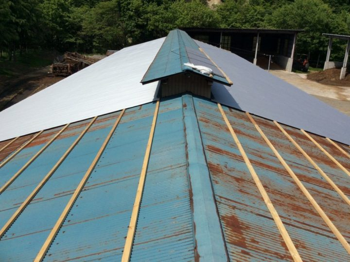 牛舎 屋根 重ね葺き
