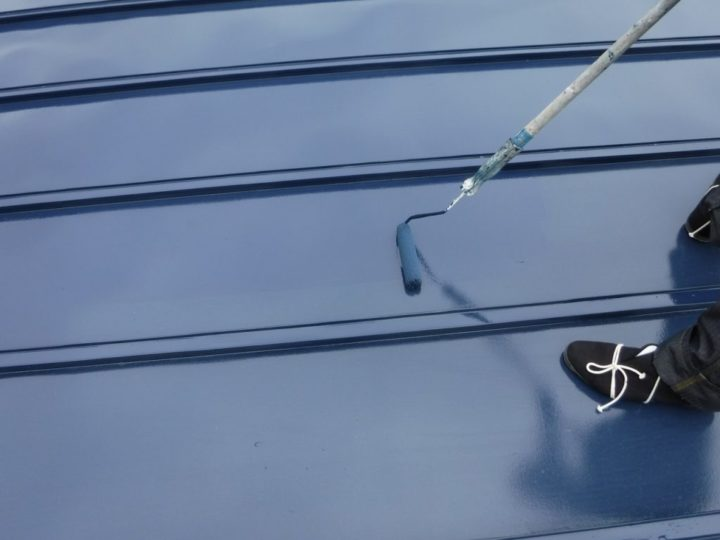 自宅屋根塗装 上塗り