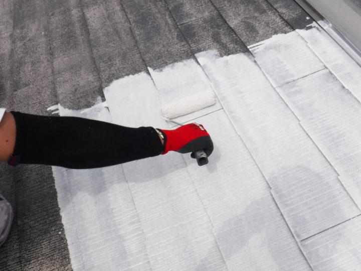 屋根塗装の下塗り(二回目)