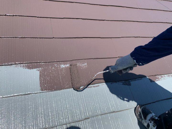 屋根 中塗り塗布